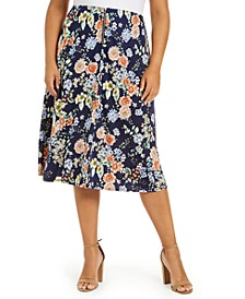 Plus Size Printed Zip-Front Skirt