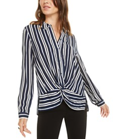 Bar III Button-Up Twist Top, Created for Macy's