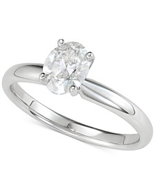Diamond Oval Solitaire Engagement Ring (1 ct. t.w.) in 14k White Gold