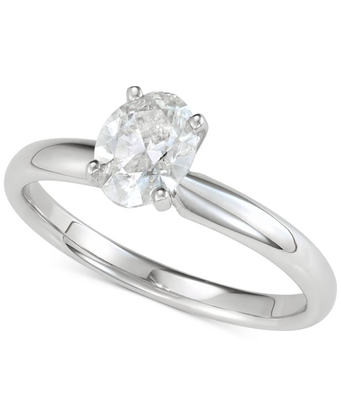 Macy's - Diamond Oval Solitaire Engagement Ring (1 ct. t.w.) in 14k White Gold