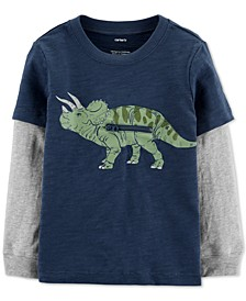 Toddler Boys Dinosaur-Print Layered-Look Cotton T-Shirt