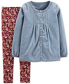 Little & Big Girls 2-Pc. Chambray Top & Floral-Print Leggings Set