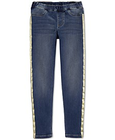 Little & Big Girls Glitter-Stripe Pull-On Jeggings