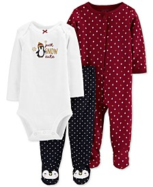 Baby Girls 3-Pc. Cotton Penguin Bodysuit, Footed Coverall & Footed Pants Set