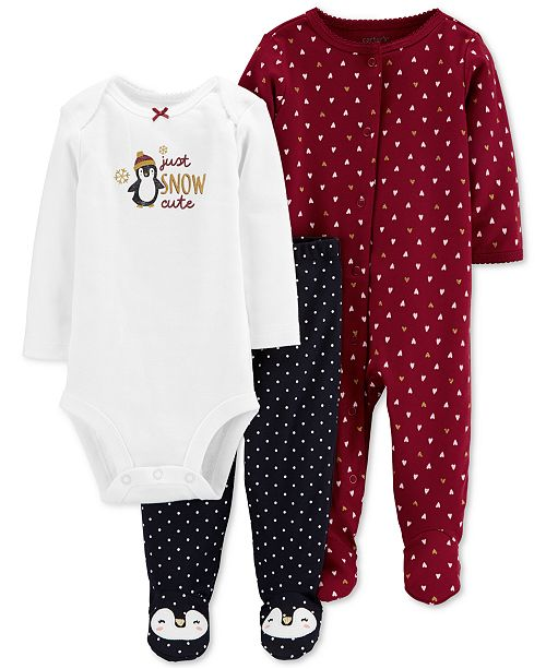 Carter's Baby Girls 3-Pc. Cotton Penguin Bodysuit, Footed Coverall & Footed Pants Set