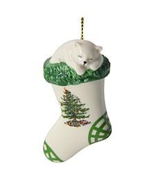 Christmas Tree Kitten in Stocking Ornament