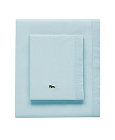 Lacoste Percale Pale Aqua Solid Queen Sheet Set