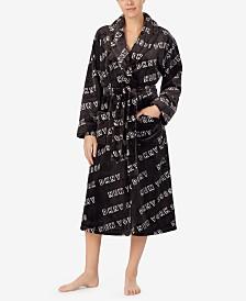 DKNY Women's Logo-Print Plush Robe