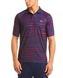 Lacoste Men's Performance Stretch Novak Djokovic Stripe Polo Shirt