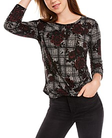 Juniors' Printed Twist-Front Top