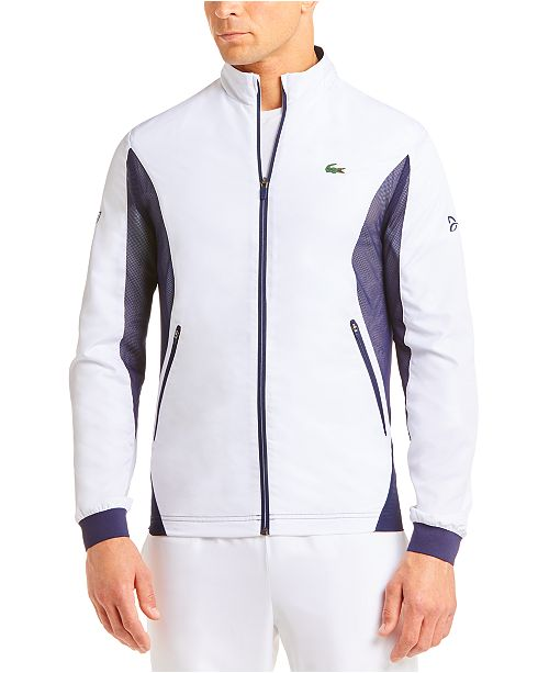 Lacoste Men S Performance Stretch Novak Djokovic Ceremony Track Jacket Reviews Coats Jackets Men Macy S