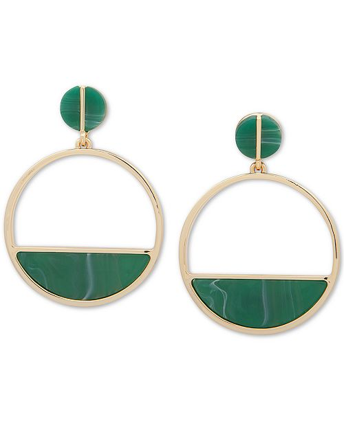 DKNY Gold-Tone & Green Stone Hoop Drop Earrings