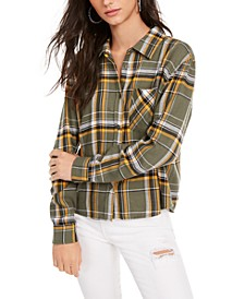 Juniors' Plaid Flannel Shirt