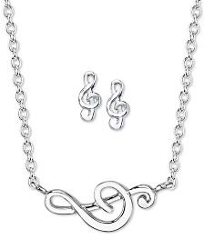 Unwritten Treble Clef Stud Earrings & Pendant Necklace Set in Sterling Silver