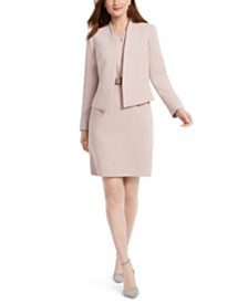 Nine West Cropped Collarless Blazer & Belted Sheath Dress