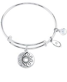 Unwritten Crystal Moon Charm Bangle Bracelet in Stainless Steel