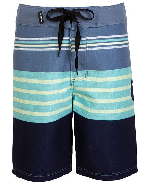 Hurley Little Boys Striped Colorblocked Swim Trunks