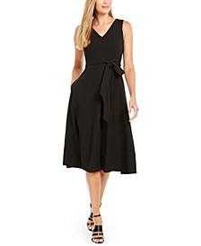 Belted V-Neck Dress