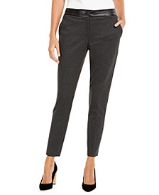 Faux-Leather-Trim Slim-Leg Pants