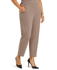 Nine West Plus Size Pull-On Elastic-Waist Pants