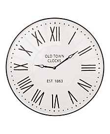 Oversized Farmhouse Metal Enamel Wall Clock