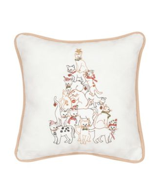 "Home Is Where My Cat Is Embroidered Throw Pillow /""Made In USA/"" Lover Gift"