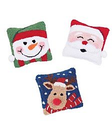C&F Home Set of 3 Hooked Pillows Snowman, Santa and Reindeer