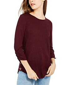 Juniors' Textured Button-Trimmed Top