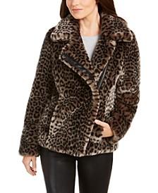 Leopard-Print Faux-Fur Moto Coat