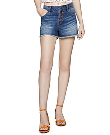 Cotton Frayed Denim Shorts