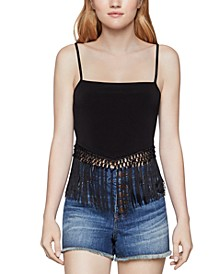 Fringe-Trim Crop Top