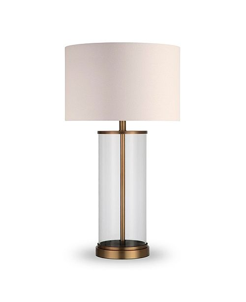 Hudson & Canal Rowan Table Lamp In Glass And Antique Brass