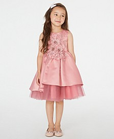 Little Girls Floral-Appliqué High-Low Dress