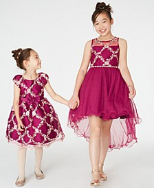 Toddler & Little Girls Embroidered Fit & Flare Dress & Big Girls Embroidered High-Low Dress