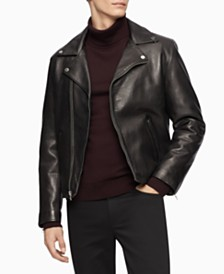 Calvin Klein Men's Leather Biker Jacket