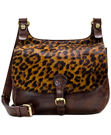 Patricia Nash Leopard London Leather Saddle Bag
