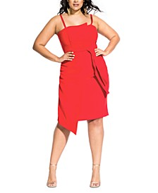 Trendy Plus Size Twisted Asymmetrical Dress