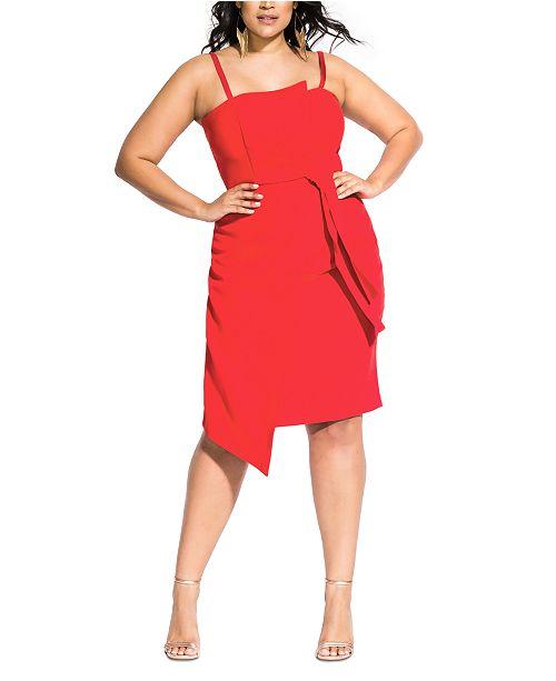 Trendy Plus Size Twisted Asymmetrical Dress