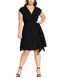 City Chic Trendy Plus Size Ruffled Faux-Wrap Dress