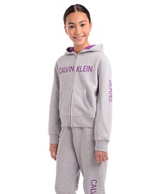 Calvin Klein Big Girls Logo Zip-Up Hoodie
