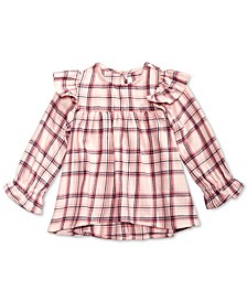 Baby Girls Cotton Ruffle-Trim Plaid Top, Created for Macy's