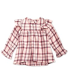 First Impressions Baby Girls Cotton Ruffle-Trim Plaid Top, Created for Macy's