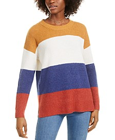 Juniors' Colorblocked Thermal-Knit Sweater