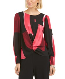 Alfani Printed Ruched-Front Top, Created for Macy's