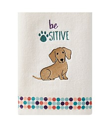 Saturday Knight Ltd Be Positive Dog 2 Piece Hand Towel Set