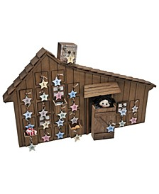 Little House on the Prairie Wooden Holiday Advent Calendar with Star Ornaments