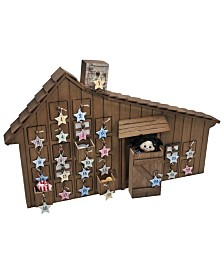 The Queen's Treasures Little House on the Prairie Wooden Holiday Advent Calendar with Star Ornaments