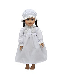 "The Queen's Treasures Little House on the Prairie 18"" Doll Clothes Cotton Night Gown Pj's and Night Cap"