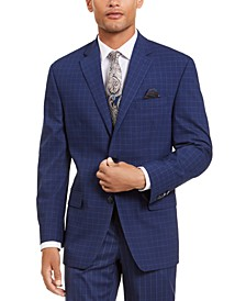 Men's Classic-Fit Stretch Blue Houndstooth Windowpane Suit Separate Jacket