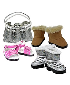 "Handbag and 3 Pair Shoes Accessories Set for 18"" Girl Doll Clothes"